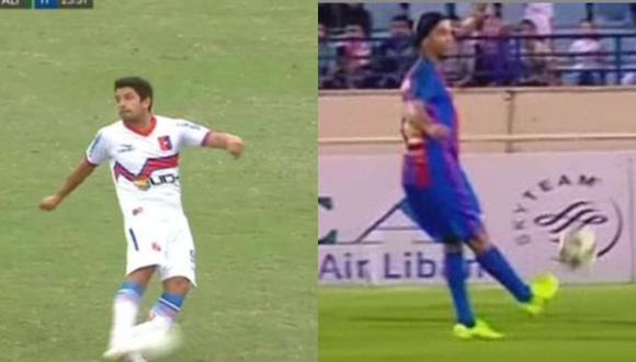 El volante de Alianza Universidad quiso hacer la de Ronaldinho y el resultado no fue el esperado.