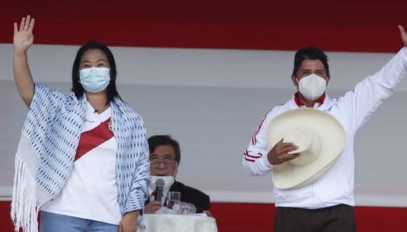 Pedro Castillo y Keiko Fujimori disputarán la segunda vuelta de las Elecciones Generales 2021. FOTO: GEC