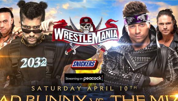 'El Conejo Malo' Bad Bunny se medirá al Miz en WrestleMania. (WWE)