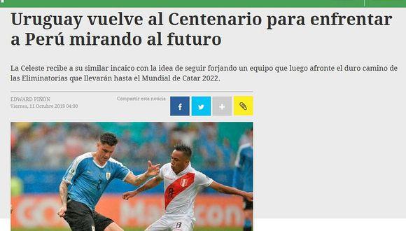Perú vs. Uruguay | Así informa la prensa charrúa horas previas al amistoso en Montevideo | FOTOS