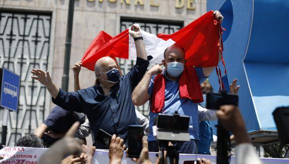 Rafael López Aliaga y Hernando de Soto cuando marcharon juntos. (Foto: César Bueno @photo.gec)