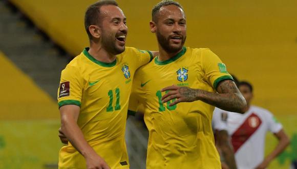 Brasil ganó en casa ante Perú y sigue con puntaje perfecto en las Eliminatorias Qatar 2022. | Foto: AFP