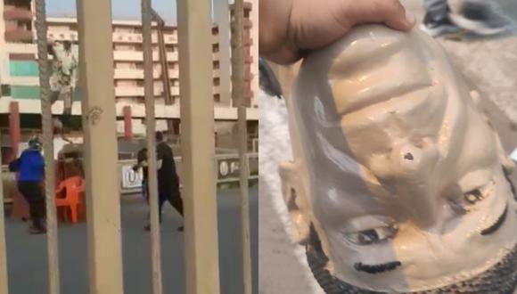 Un video publicado en las redes sociales muestra cómo vándalos destruyeron lo que era la estatua de Lolo Fernández en la entrada del Estadio Monumental
