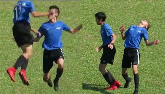 VIRAL   Niño intenta imitar la celebración de Cristiano Ronaldo y le tira un puñete a su compañero   VIDEO