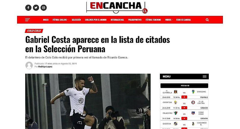 Selección peruana | Así reaccionó la prensa chilena tras la convocatoria de Gabriel Costa a la 'bicolor' | FOTOS