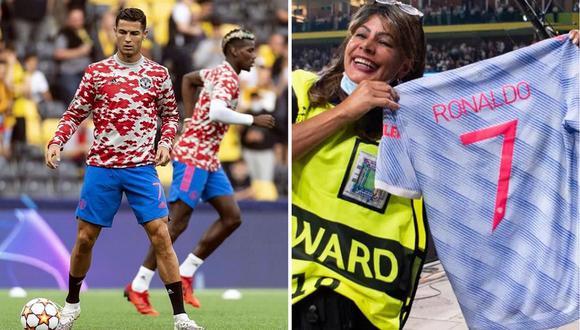 Cristiano Ronaldo obsequió su camiseta a una agente de seguridad. (Foto: Twitter)