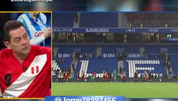 Periodista español lució camiseta de la selección peruana con la '9′ de Paolo Guerrero en programa El Chinguirito TV [VIDEO]