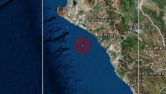 El movimiento telúrico se registró a las 23:11 horas a 30 kilómetros de profundidad; además, fue con 98 km de referencia al O de Pimentel, en Chiclayo. (Foto: IGP)