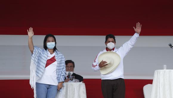 A 1 semana de la Segunda Vuelta, salió una nueva encuesta del CPI en la que Pedro Castillo y Keiko Fujimori registran empate técnico.  (Foto: Hugo Pérez / GEC)