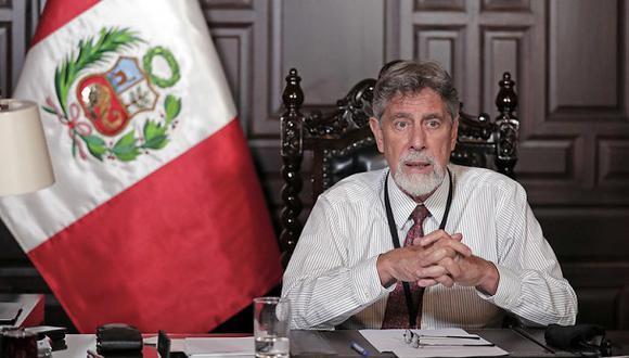 El presidente Francisco Sagasti se dirige a la nación en un mensaje televisado. (Foto: Presidencia Perú).