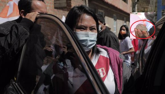 Mientras se encontraba en Huaraz, Keiko Fujimori fue agredida con una piedra por simpatizantes de Perú Libre de Pedro Castillo. FOTO: GEC