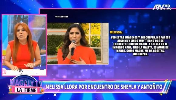 Magaly Medina cuestiona a Melissa Paredes por llorar al ver el encuentro de Sheyla Rojas y su hijo. (Foto: Captura)