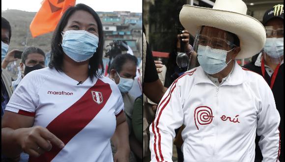 Según IEP, Pedro Castillo mantiene ventaja sobre Keiko Fujimori en las preferencias electorales. (Fotos: Archivo El Comercio)