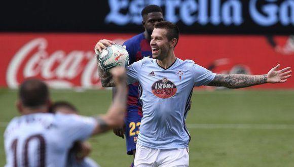 El gol de Smolov para Celta de Vigo ante Barcelona tras mala salida de Rakitic. (Foto: Agencias)