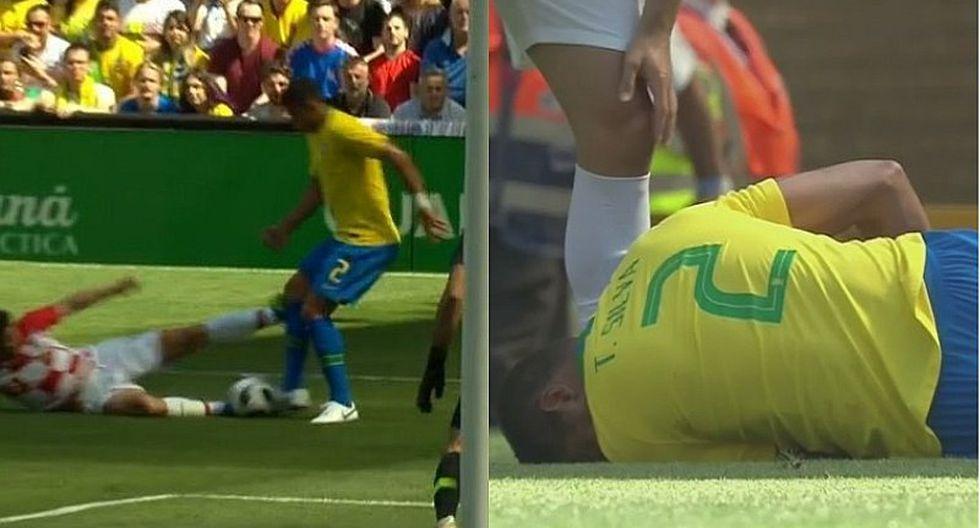Brasil vs. Croacia: Kramaric estuvo a punto de lesionar a Thiago Silva