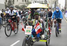 Plaza San Martín: primera bicicleteada por el Bicentenario tuvo masiva asistencia FOTOS