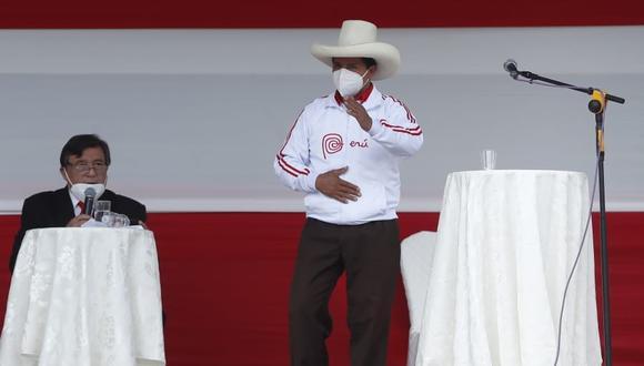 El candidato presidencial de Perú Libre, Pedro Castillo se refirió a las declaraciones de RLA donde pide su muerte a él y a su líder, Vladimir Cerrón. (Foto: Hugo Pérez / @photo.gec)