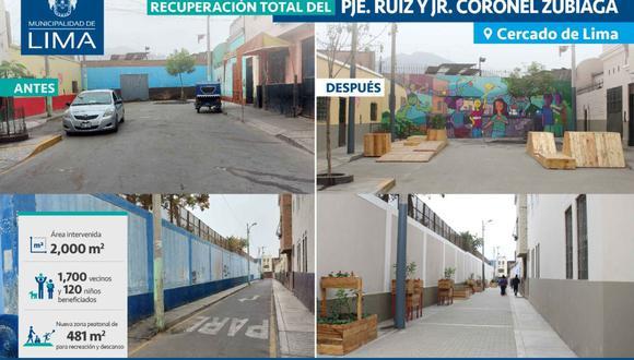 Se trata de 2,000 m2 de espacios públicos intervenidos que ahora cuentan con 1,150 plantas, 20 biohuertos, 19 árboles y 200 m2 de áreas lúdicas y de descanso, los cuales beneficiarán a 1.700 vecinos. (Foto: Municipalidad de Lima)