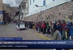 Venta de entradas para el partido de Cienciano vs. Santos FC genera colas y desorden en Cusco | VIDEO