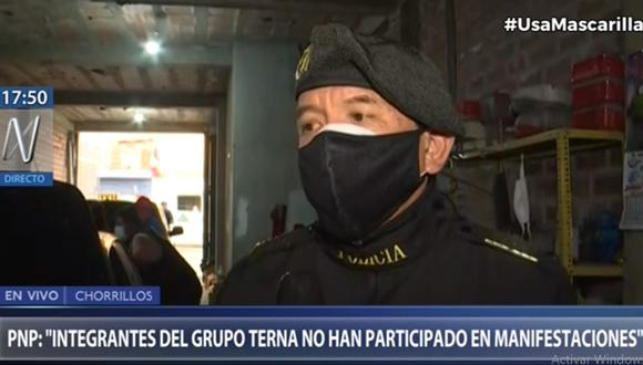 El jefe del Grupo Terna, coronel PNP Fredy Velásquez, detalló cómo fue la participación de su unidad policial durante las recientes protestas ciudadanas. (Canal N)