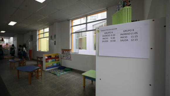 Ministerio de Educación suspende clases semipresenciales en dos secciones de colegio de Surco tras detectarse un caso de COVID-19 entre alumnos . (Foto: Britanie Arroyo / @photo.gec)