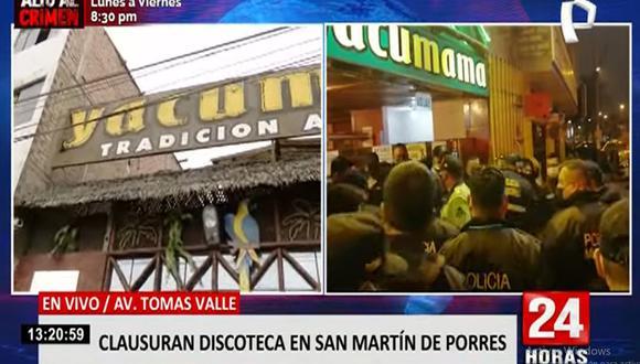 El local Yacumama ha sido intervenido en varias oportunidades por la realización de fiestas clandestinas. (Foto: 24 Horas)