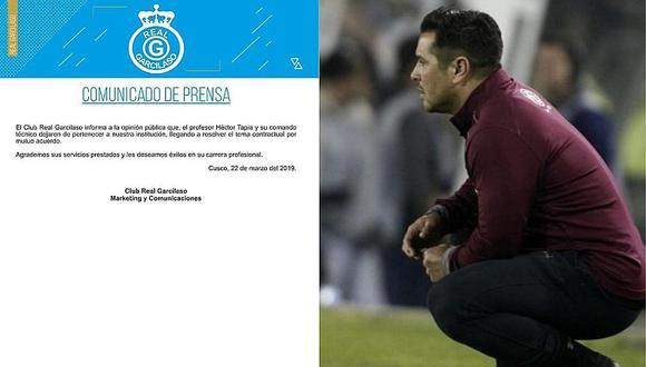 Real Garcilaso echó a su técnico tras caer ante Binacional en la Liga 1