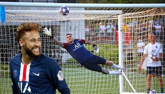 Mauro icardi ganó desafío a Neymar atajándole este disparo en práctica de PSG