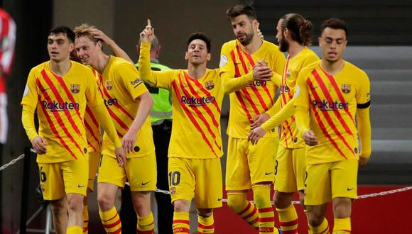 Lionel Messi y la plantilla de Barcelona celebraron durante su reunión privada. (Foto: EFE)