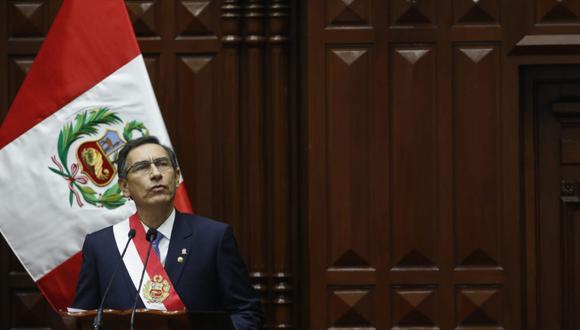 Presidente Vizcarra se dirige Mensaje a la Nación por Fiestas Patrias. (Foto: Andina)