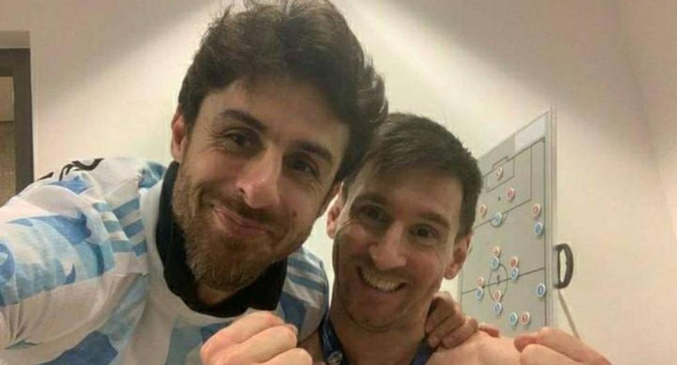 Lionel Messi celebró el título de la Copa América al lado Pablo Aimar, su ídolo de infancia