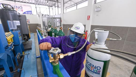 Una de las plantas de oxígeno medicinal que atiende desde las 7 hasta las 10 de la mañana. (Municipalidad de Lima)