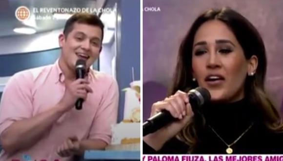 """Gino Pesaressi y Tepha Loza fueron captados conversando muy juntos en el set de """"En boca de todos"""". (Foto: Captura América TV)."""