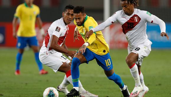 Con goles de André Carrillo y Renato Tapia, Perú perdió ante Brasil por la segunda fecha de las Eliminatorias Qatar 2022. (Foto: AFP)