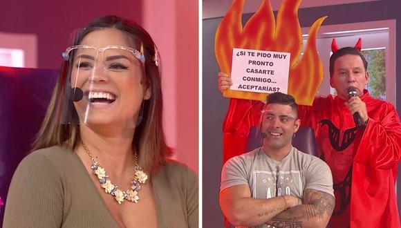 Andrea San Martín y Sebastián Lizarzaburu se pusieron nerviosos ante incómoda pregunta. (Foto: Captura América TV )