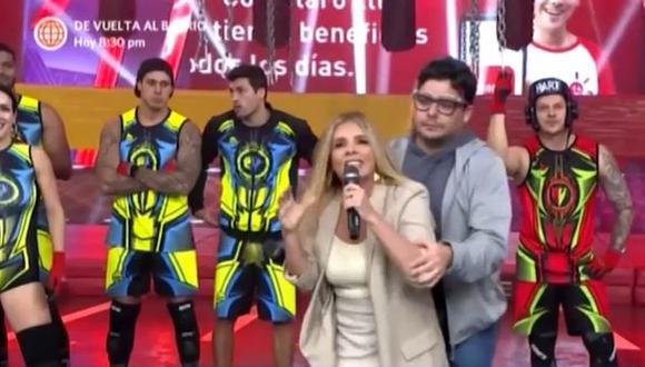"""La presentadora de """"Esto es guerra"""" se exaltó tras dirigirse a los conductores de """"Guerreros Puerto Rico"""" y Gian Piero Díaz tuvo que cargar a su compañera para retirarla del set."""