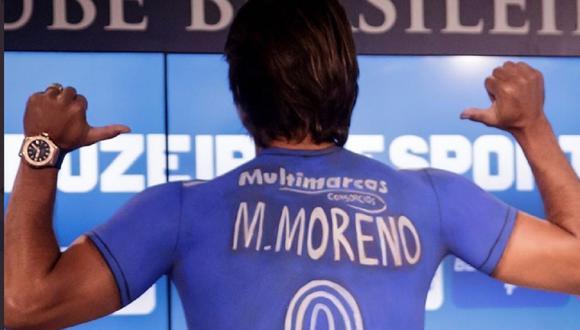 Marcelo Martins Moreno revolucionó Belo Horizonte presentándose en Cruzeiro con la camiseta pintada en el cuerpo