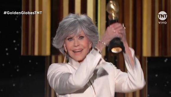 Jane Fonda recibió el premio honorífico Cecil B. deMille en los Globos de Oro. (Foto: Captura TNT)