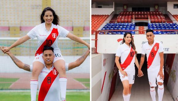 Pamela López y Christian Cueva lucen con uniforme de la selección peruana. Foto: Instagram/pamlopsol