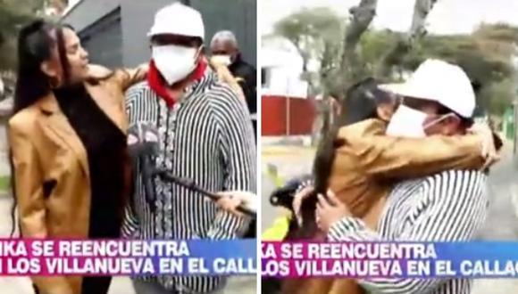 """Afrika Villanueva se reencontró con su abuelo cuatro años después con su abuelo """"Melcochita"""". (Foto: Captura América TV)"""