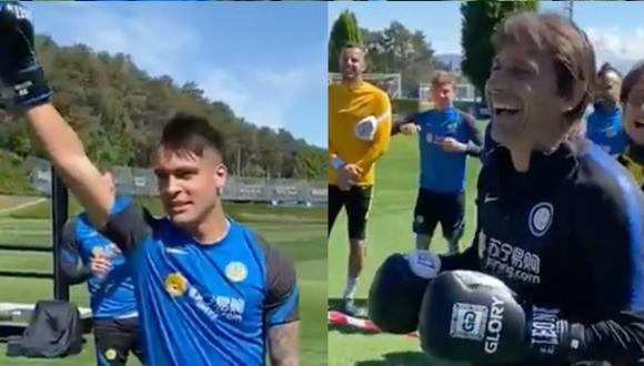 Lautaro Martínez y Antonio Conte se pusieron los guantes de box. (Foto: Inter)