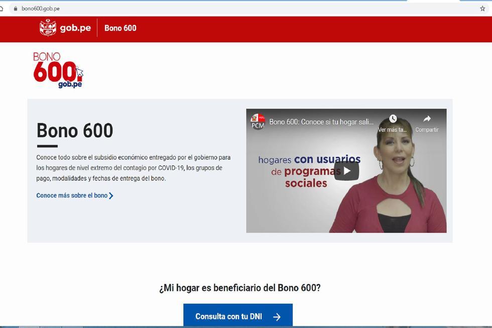 Esta es la plataforma oficial para saber si eres beneficiario del Bono 600. (Foto: Internet)
