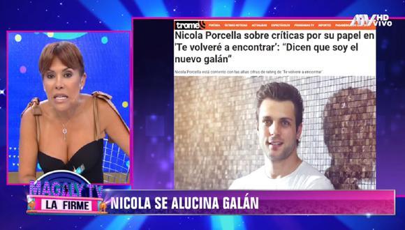 Magaly Medina criticó el trabajo actoral de Nicola Porcella. (Foto: Captura ATV)
