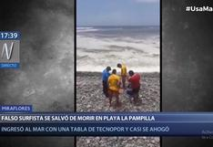 Falso surfista ingresó a playa La Pampilla con tabla de tecnopor y casi se ahoga