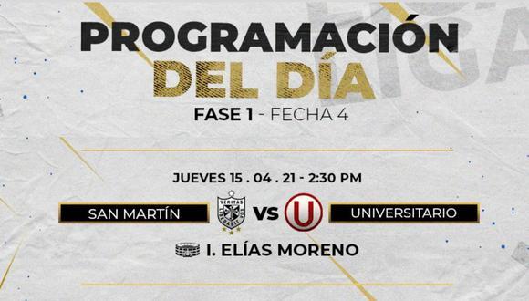 Universitario y San Martín se enfrentan EN VIVO por la fecha 4 de la Liga 1. Te contamos dónde y cuándo ver este partidazo