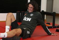 Edinson Cavani entrenó en Manchester United por primera vez, a dos días del duelo ante PSG