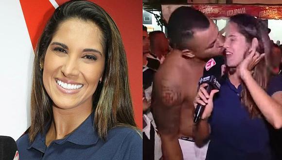 Hincha brasileño roba beso en la boca a reportera y ella reacciona [VIDEO]