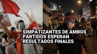 Simpatizantes de Keiko Fujimori y Pedro Castillo esperan resultados de la ONPE