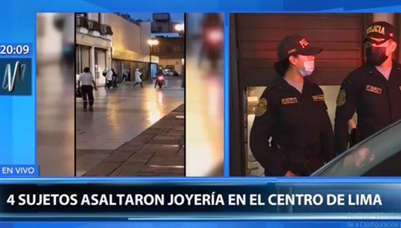 Los delincuentes huyeron en dos motos con dirección al jirón Huancavelica. (Canal N)