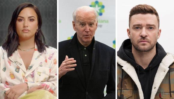 Hasta el momento tres artistas han confirmado su presencia en la investidura de Joe Biden. (Foto: AFP Jim Watson / Instagram @justintimberlake / @ddlovato)